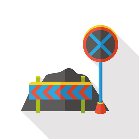 traffic barricade: traffic roadblocks flat icon