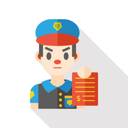 rules of road: Traffic police flat icon