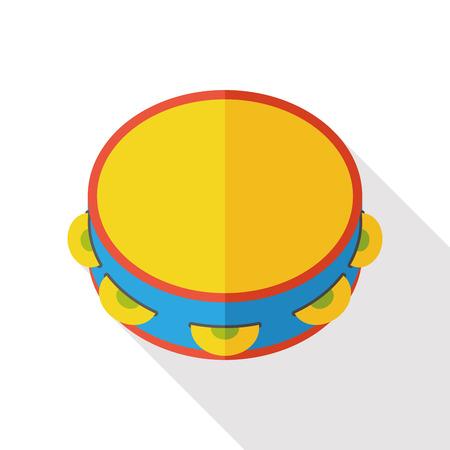 pandero: Pandereta del instrumento de música icono plana