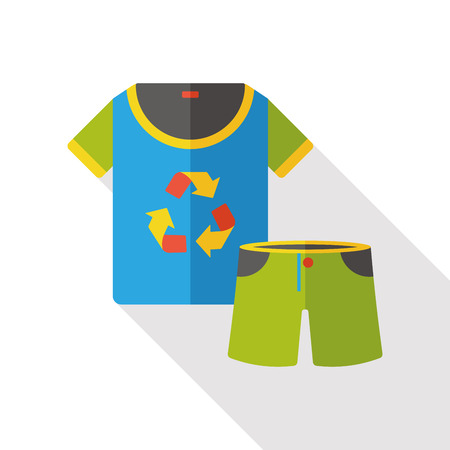 Environmental protection concept flat icon; recycle pants and clothes Illustration