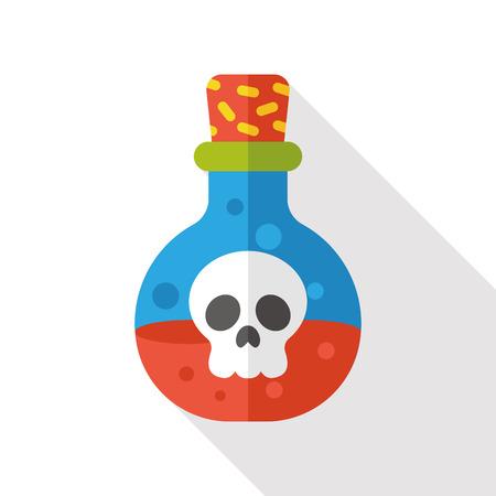 veneno frasco: icono de la botella del veneno plana Vectores