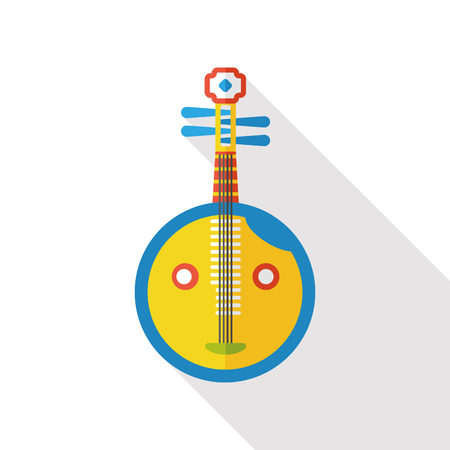 lute: Chinese lute music instrument flat icon Illustration
