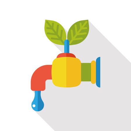 conserve: Environmental protection concept flat icon; Conserve water, protect the environment.