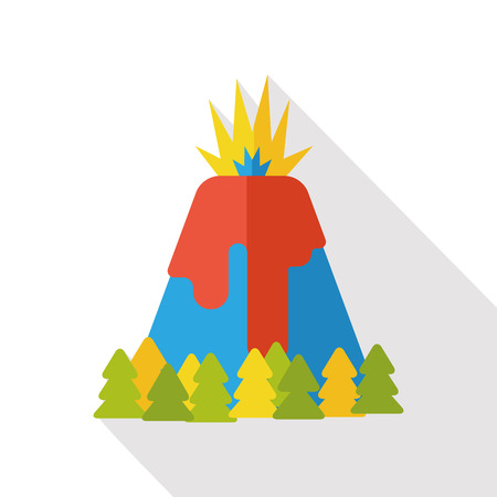 volcano mountain erupting: Volcano mountain flat icon Illustration
