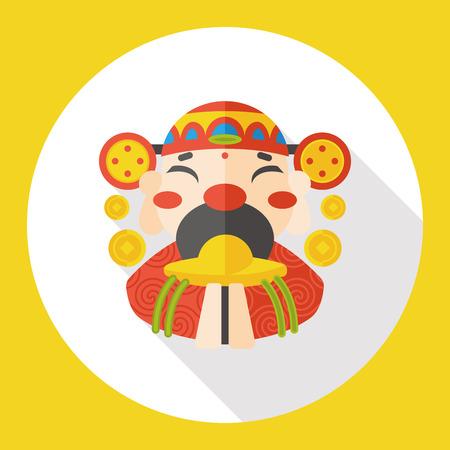 prosperidad: Año Nuevo Chino Dios de icono plana riqueza
