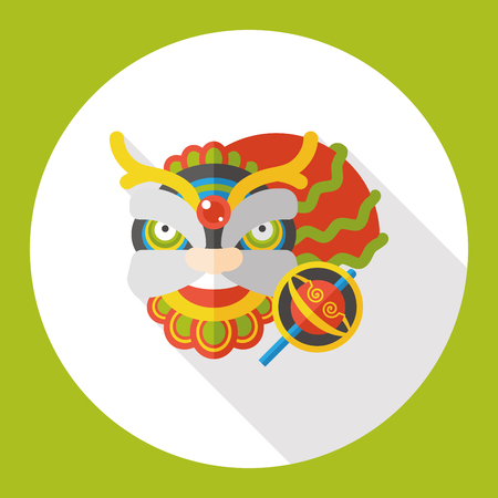 chinese new year dragon: Chinese New Year dragon and lion dancing head flat icon