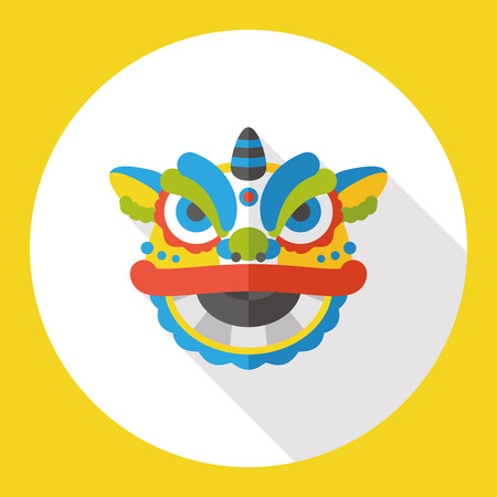 lion dance: The dragon and lion dancing head flat icon