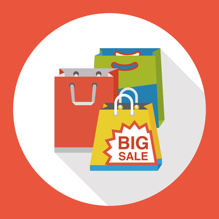 shopping bag flat icon Stock Illustratie