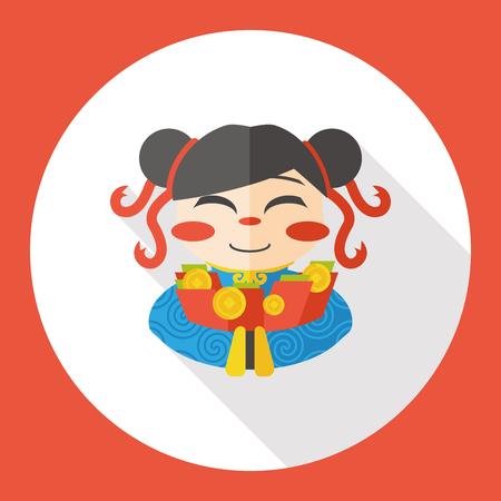 asian family fun: Chinese New Year girl flat icon