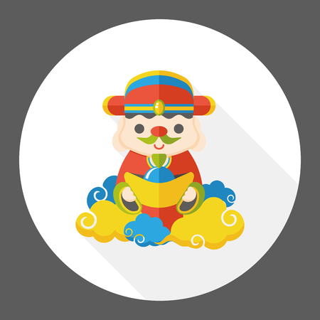 lucky man: Chinese New Year God of wealth flat icon