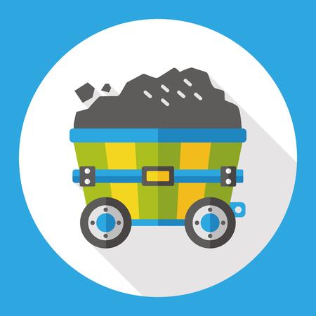 gravel: Gravel trucks flat icon Illustration