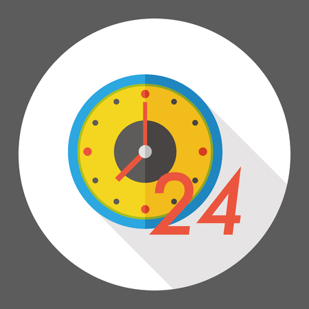 operation for: 24 hours shop open flat icon Illustration