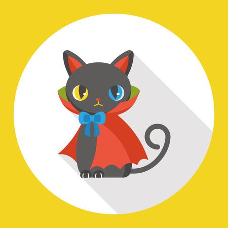 Evil cat flat icon