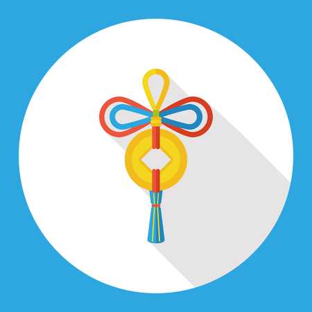 blown: Chinese New Year flat icon; Ancient coins lucky pendant means  wish good luck and fortune comes.