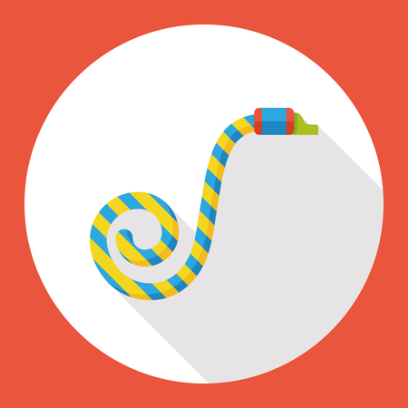 party horn blower: birthday party horn flat icon Illustration