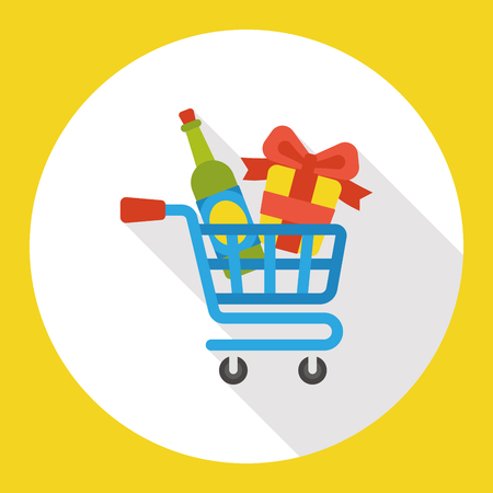 shopping champagne: shopping cart gifts and champagnes flat icon