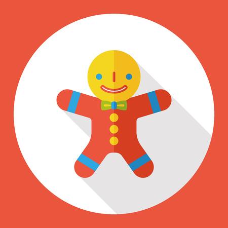 gingerbread man: Christmas gingerbread man flat icon