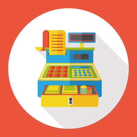 achats caisse enregistreuse icône plat