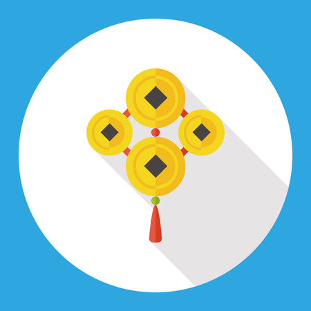 Chinese New Year flat icon; Ancient coins lucky pendant means  wish good luck and fortune comes.