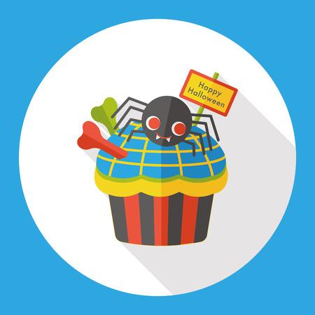 viewpoint: Halloween cupcakes flat icon Illustration