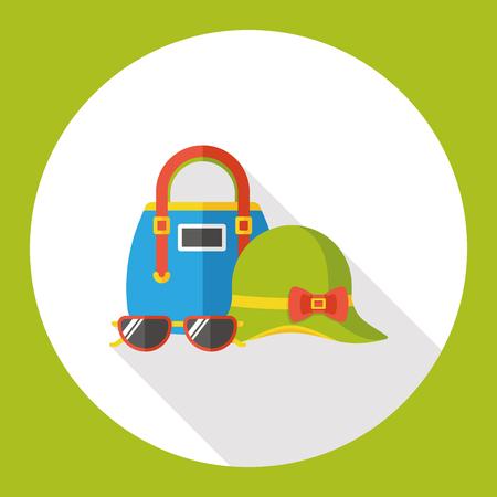 sunhat: shopping bag, sun-hat and sun-glasses flat icon