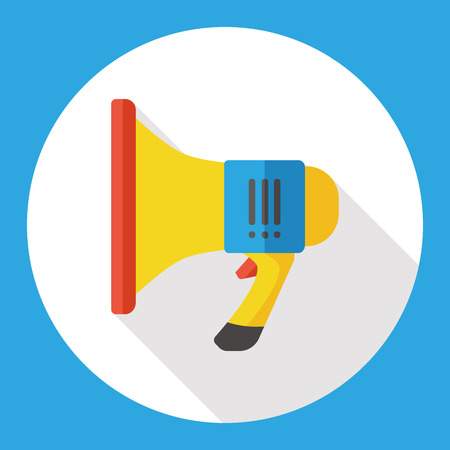 using voice: shopping sale announcement loudspeaker flat icon