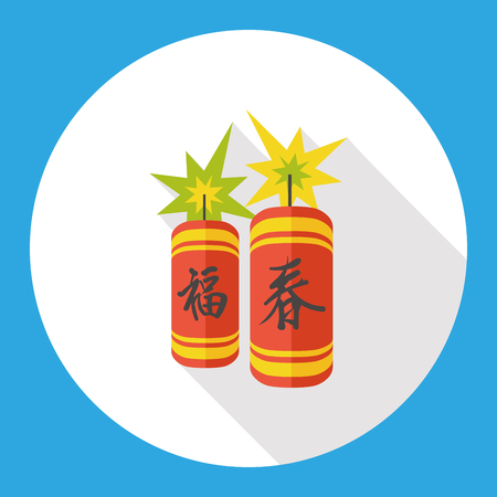 firecrackers: Wish spring and luck comes Chinese firecrackers flat icon Illustration