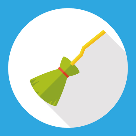 witch on broom: Witch broom flat icon