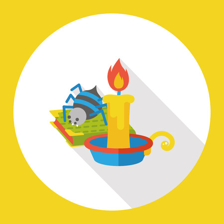 long night: halloween candle and spider flat icon Illustration