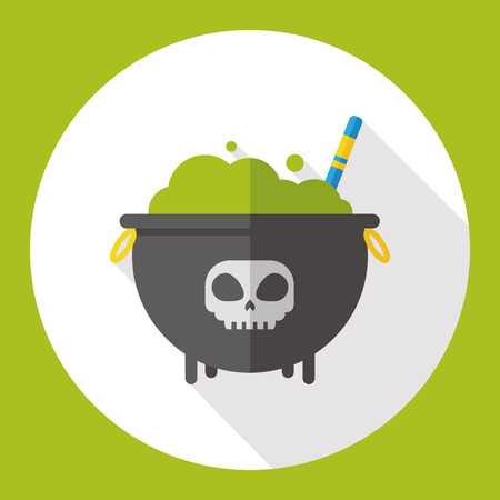 chowder: Witchs pot flat icon Illustration