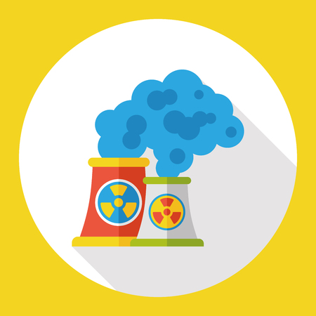 nuclear power: Nuclear power tower flat icon