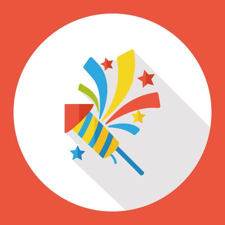 cracker: birthday cracker firework flat icon Illustration