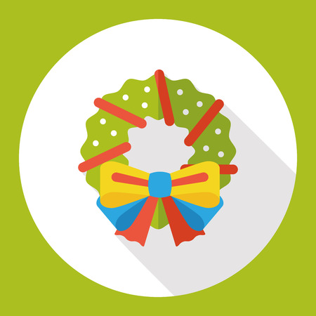 christmas icon: Christmas wreath flat icon