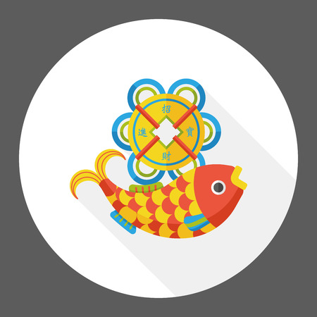 Chinese New Year flat icon; Chinese fish lucky pendant means May you always get more than you wish for. Illustration