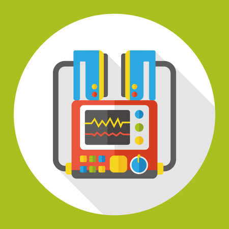 ecg monitoring: monitor in the ICU flat icon Illustration