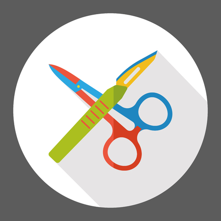 suture: Scalpels and scissors flat icon