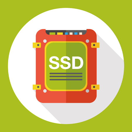 solid state drive: SSD data flat icon