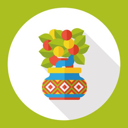 mandarin: Chinese New Year Mandarin Oranges flat icon Illustration