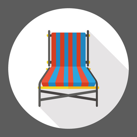 patio furniture: lounge chair flat icon Illustration