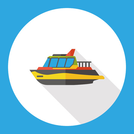 cruising: Transportation flat ship icon Illustration