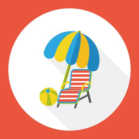 patio deck: lounge chair flat icon Illustration