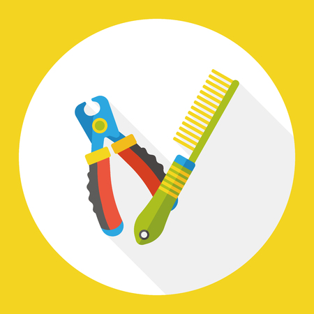 cat grooming: pet brush and cleaning tool flat icon