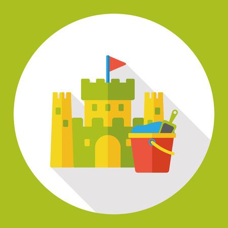 sand castle: sand castle and bucket flat icon Illustration