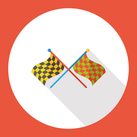 two crossed checkered flags: sport race flag flat icon Illustration