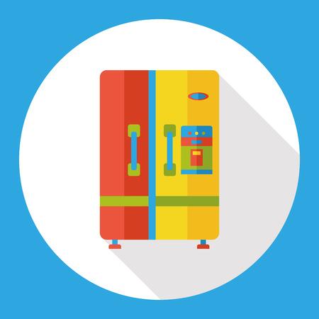 refrigerator kitchen: kitchen Refrigerator flat icon Illustration