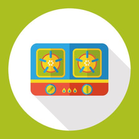 gas stove: gas stove flat icon Illustration