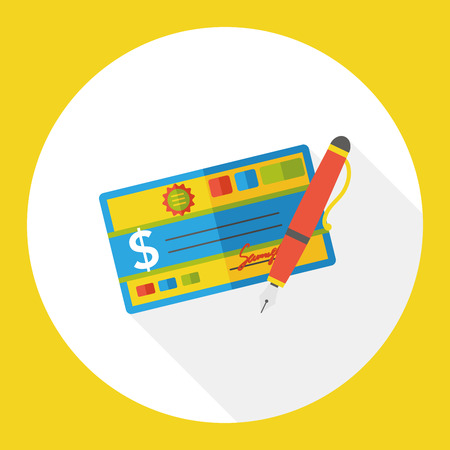 checkbook: money check finance flat icon Illustration