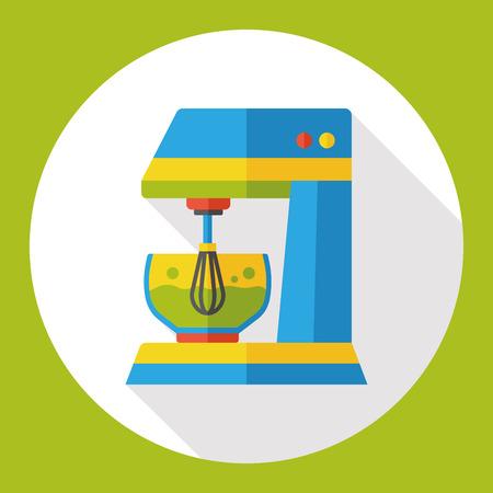 batidora: utensilios de cocina batidor icono plana Vectores