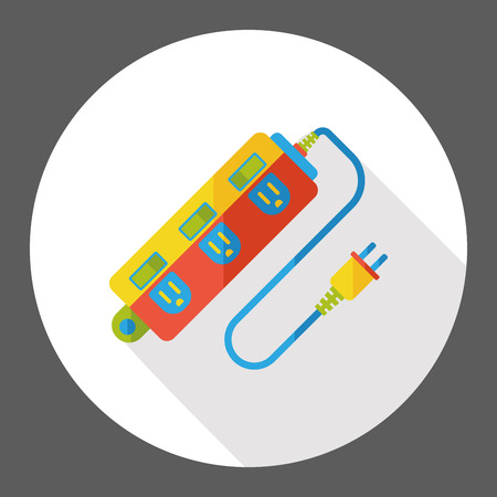 Extension cord flat icon Illustration
