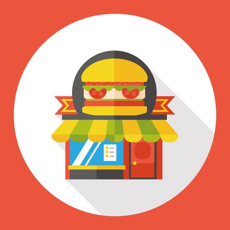 window bars: fast food store flat icon Illustration